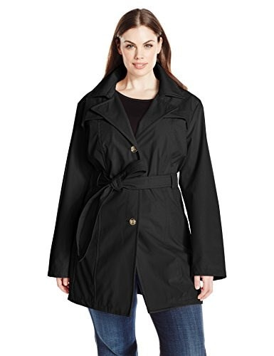 Larry Levine Womens Plus-Size Single Breasted Trench Coat, Black, 2X