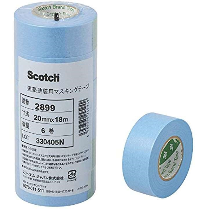 スコッチ 建築塗装用マスキングテープ 2899 20mm×18m 6巻 20X18[2899 20X18](水色 20mm幅)