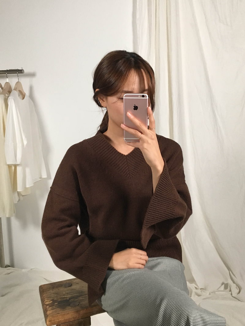 メロディ小売スリットデイリーニットkorea fashion style