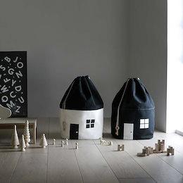 ストレージバッグ 可愛い家の形状 おもちゃ収納 ひも付き 収納袋 リビング便利 グッズ お片付けマット 収納 収納BOX 北欧インテリア 収納ケース