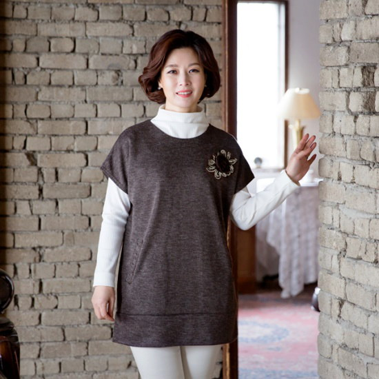マダム4060ママの服スパンコール花ポケットチョッキXVE710002 ベセチュウ / ニット・ベスト/ 韓国ファッション