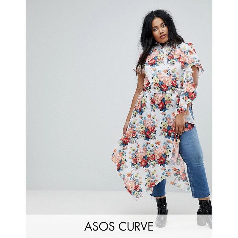 エイソス レディース トップス【ASOS CURVE Asymmetric Longline Top in Floral Print】Multi