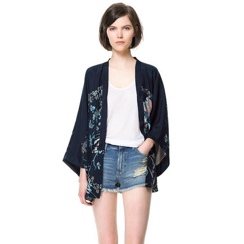 女性のヨーロッパとアメリカのファッションスタイルのレトロプリントカーディガン着物レディーススリークオータースリーブシフォンシャツ女性Sブラウス