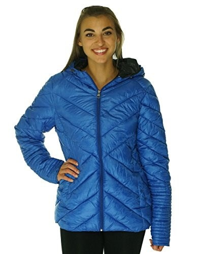 Madden Girl Hooded Quilted Puffer Jacket Cobalt Large Juniors