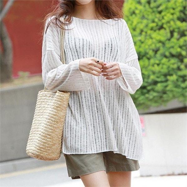 ピピンクレームシースルー・リンネンニット103889 new 女性ニット/ラウンドニット/韓国ファッション