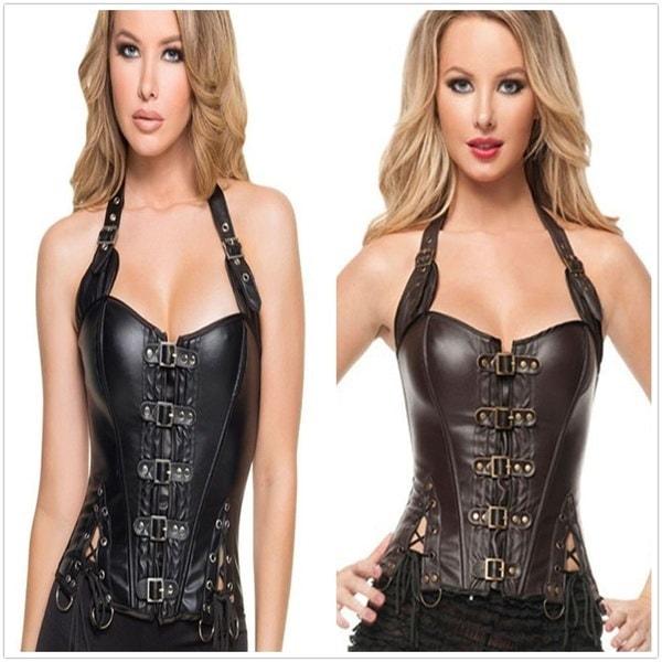 プラスサイズの女性バックルアップSteampunkコルセット新しいファッション新しいコルセット女性の布