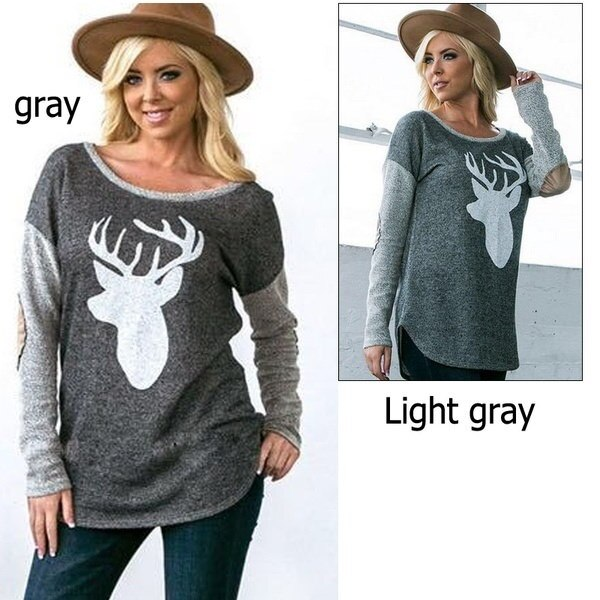 Women Loose Long Sleeve Deer Print Elbow Patch Casual Blouse Shirt Tops Fashion GUC (Size: XL, Color
