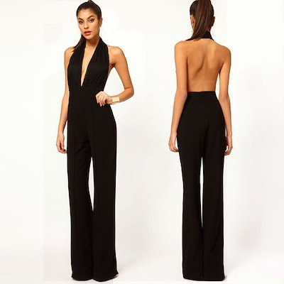 women jumpsuit with lace patchwork sleeveless length racerback halter-neck fashion sexy slim pants D