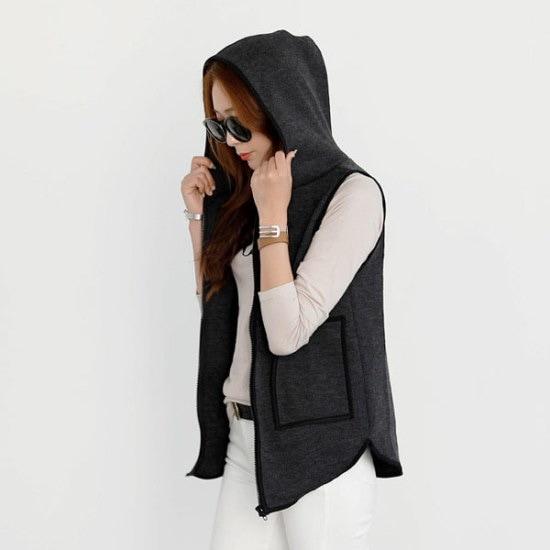 シーフォックスレミアフードベスト ベスト・ジャケット/ 韓国ファッション