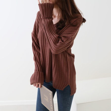 [Dimming] Fit Vibe Neck knit three color fall knit