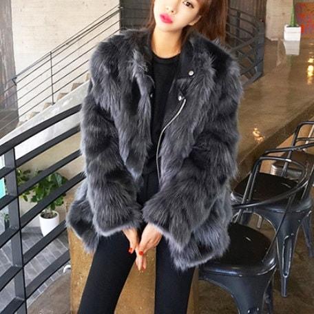 韓国ファッション♪フェイクファーコート
