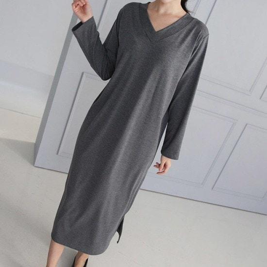 オーサムブレやソフトVロングワンピース233901 綿ワンピース/ 韓国ファッション