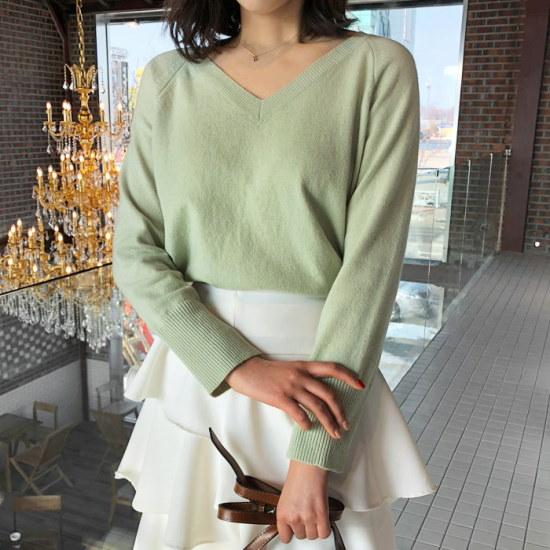 [アップタウンホリック]タウンホリックアッシュのV knit(3color)【Vネックニット/レムスウルニット/ルーズフィットニット ニット/セーター/ニット/韠