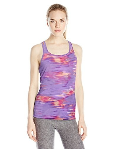 Spalding Womens Printed Easy Fit Run Tank, Chevron Surf Print/Day Glow/Hyper Violet, Small