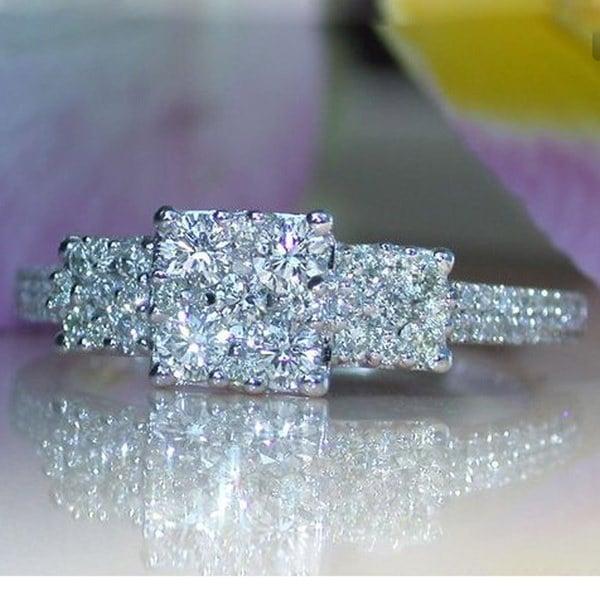 925シルバーナチュラル宝石リングホワイトサファイア結婚式誕生石の花嫁のエンゲージメントスクエアブランドクロム