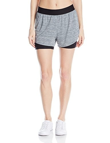 Champion Womens Vapor 6.2 2 In 1 Run Short, Trekking Grey SD Heather/Black, Medium