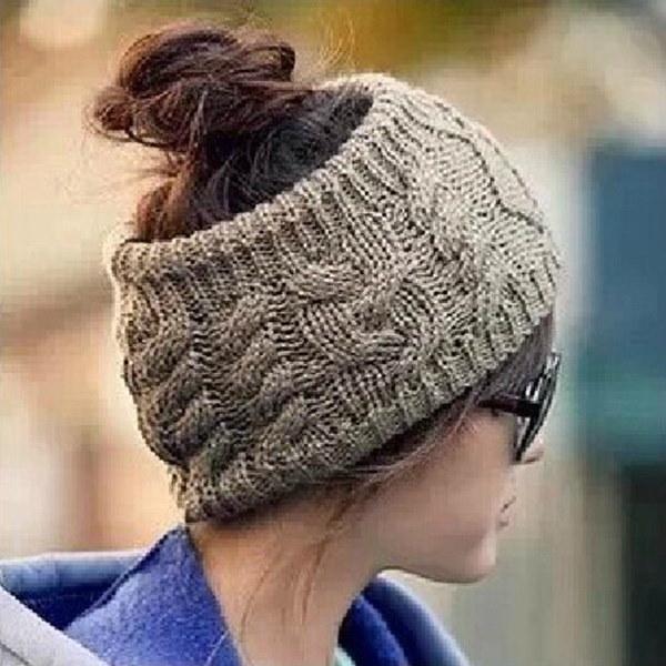女性暖かい冬の雪の帽子ファッションニットのヘッドバンドいいえトップウールの帽子のヘッドバンド