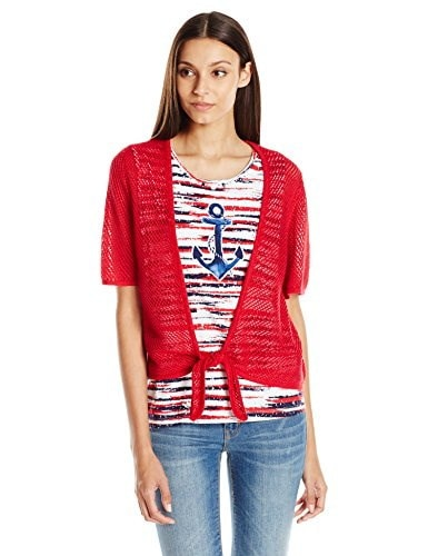 Alfred Dunner Womens 2 Fer Anchor Sweater, Red, X-Large