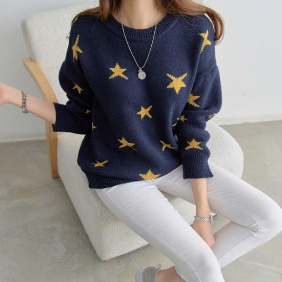 ピピンストンジビッグ・スターの刺繍ニットシャツ104897srcLangTypeko ニット/セーター/ニット/韓国ファッション