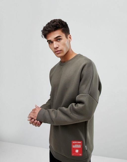 Jack & Jones Core Sweatshirt With Drop Shoulder In Neoprene Jersey