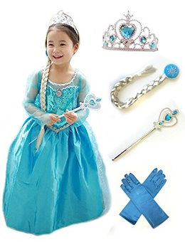 6dc3a0abf2c87 アナと雪の女王 エルサ風ドレス5点セット (ドレス、ティアラ、