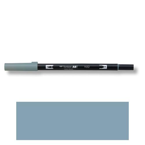 トンボ鉛筆 デュアルブラッシュペン AB−T N52 ABT 水彩 スケッチ 画材 カリグラフィ イラスト ツインタイプ(クールグレー8)