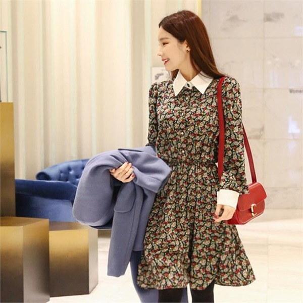 ビックサイズジェイ・スタイルトゥロビのキュービックフローラルワンピースnew 無地ワンピース/ワンピース/韓国ファッション