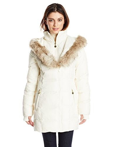 Betsey Johnson Womens Mid Length Puffer Coat with Faux Fur Hood, Ivory, Small