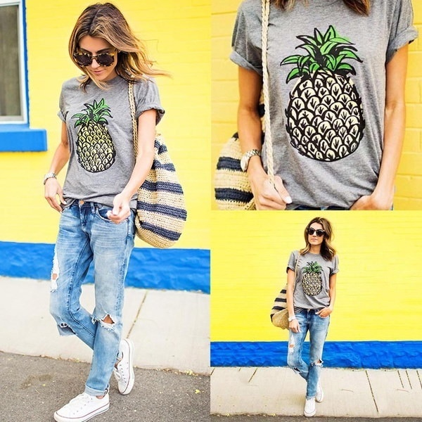 Women Casual Round Neck Short Sleeve Pineapple Print T-Shirt