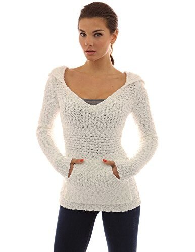 PattyBoutik Womens Hoodie Long Sleeve Open Stitch Sweater (Off-White S)