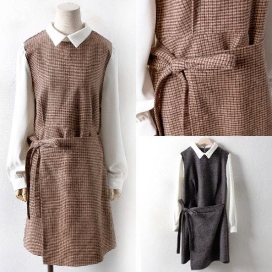 【ウィスィモール] PG1019ヘリンボーン配色ラップワンピース(H801)col.66-110size 綿ワンピース/ 韓国ファッション