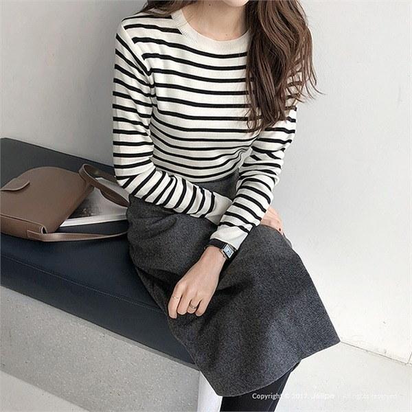 遠い将来ニット/ダンガラ/ストライプ/ラウンドネックnew 女性ニット/ラウンドニット/韓国ファッション