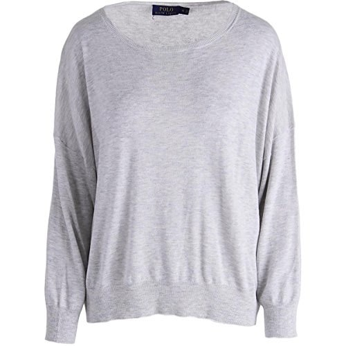 Ralph Lauren Womens Silk Blend Hi-Low Pullover Sweater Gray XL