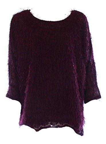 Alfani Womens Fuzzy Sweater/Camisole Set, Purple, XL