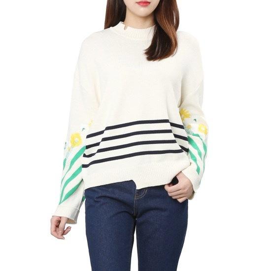 【あるSJと二フィート]フラワーエムブロイドニットトップ(PCMS1KU049) ニット/セーター/パターンニット/韓国ファッション