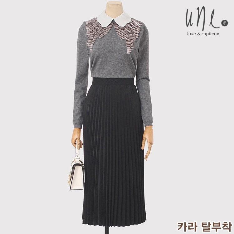 UNE [ウィン] [ウール混] [カラー着脱]ユニークディテールウールニット/韓国ファッション