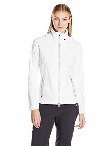 Zero Restriction Womens Hooded Olivia Packable Rain Jacket, White/White, Medium