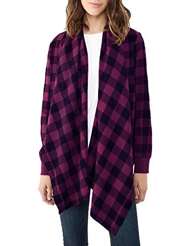 Alternative Womens Yarn Dye Flannel Wrap Cardigan, Raspberry, Medium