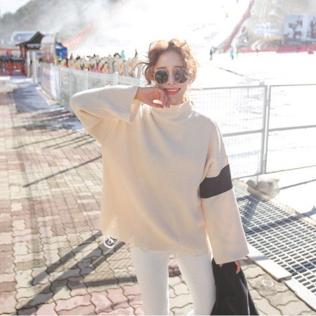反目ルーズフィットタートルニットティーデイリールックデイリーバックkorea women fashion style