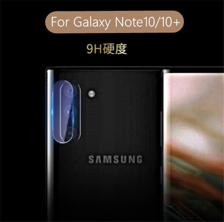 Galaxy Note 10/10+カメラレンズガラスフイルム 強化ガラス 保護シール/シート 2.5Dラウンドエッジ加工 0.3mm超薄型 硬度9H 高透過率 自動吸着【I972】