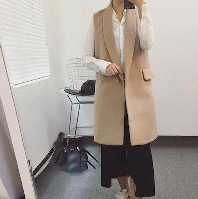 55555SHOP[55555SHOP]韓国サイト大ヒット!ノーカラーフェイクムートンロングベスト