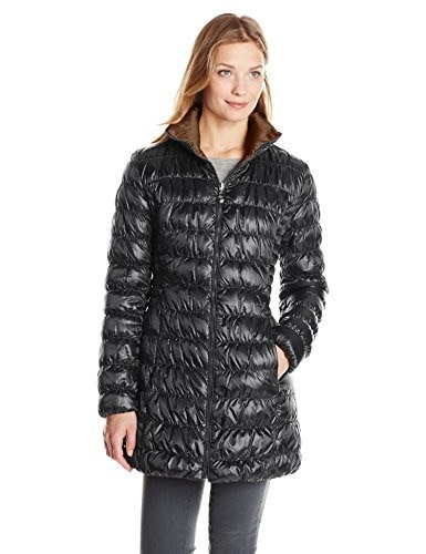 Laundry Womens Reversible Packable Down Coat, Black/Antique Bronze, Small
