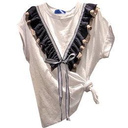 超人気インスタグラムで話題 早い者勝ち 2020年春 夏 新 韓国 フレンチイヤー Tシャツ 上着 スリム 上品映え 百掛け 蝶結び ゆったりする 大きいサイズ