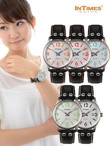 135d9fd320 INTIMES インタイムス ステンレス・ケース/本革レザー・ベルト メンズ/レディース 腕時計