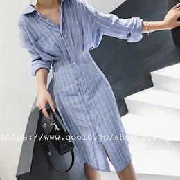 E512  超人気/ファッションロングシャツの春夏 韓 大きいサイズ 長袖 ロングワンピ コット ワンピ