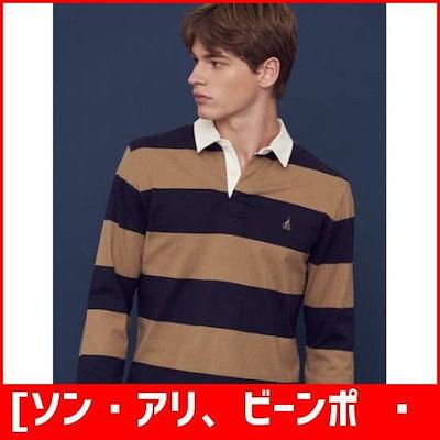 [ソン・アリ、ビーンポール][ソン・アリ、ビーンポールメン]ネイビー・ストライプラグビーシャツ(BC8841C22R) /カラーTシャツ/ Tシャツ/韓国ファッショ㠼/td>