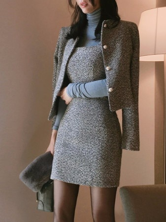 ヴィヴィアンパールツイードツーピースセット(ワンピース ジャケットset)korean fashion style