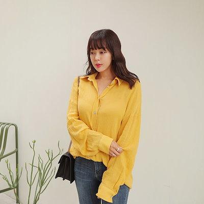 ポラムリンネン夜shirtシャツ ソリッドシャツ/ブラウス/ 韓国ファッション