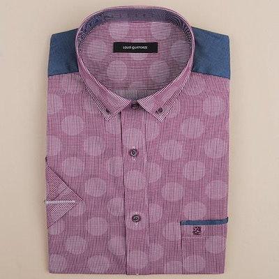 ルイカトルズ [AK公式ストア][louisquatorzeシャツ] [LOUIS QUATORZE]レッドワインQ5021D半袖スリムワンピースシャツ