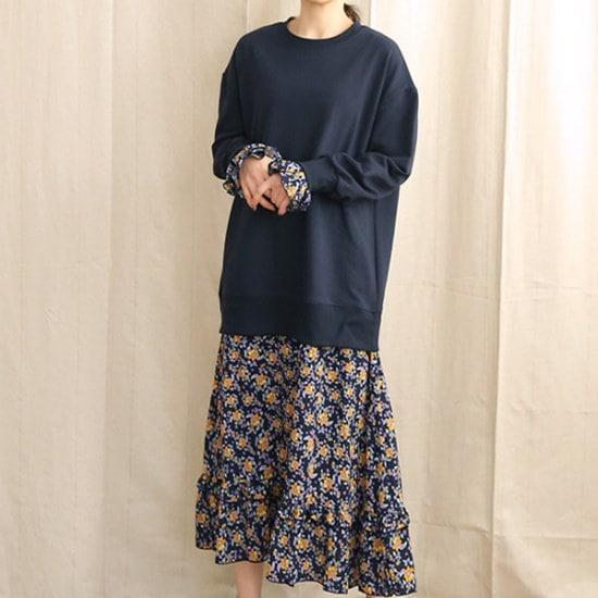 ビナインスィポニマンツーマンワンピース 綿ワンピース/ 韓国ファッション